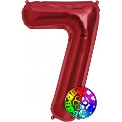 Palloncino 86 cm numero 7 rosso conf. 1 pz.